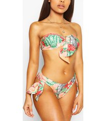 petite abstract animal bandeau high leg bikini, red