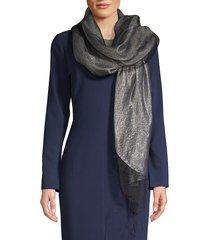 saachi women's metallic silk scarf - black