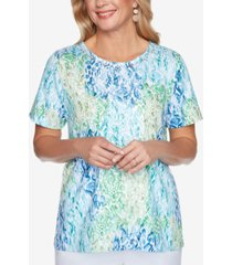 alfred dunner petite classics lace-front top