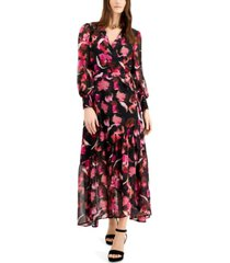 bar iii printed faux-wrap maxi dress, created for macy's