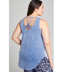 lane bryant women's livi strappy-back tunic - mineral wash 22/24 wedgewood blue