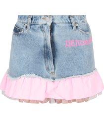 natasha zinko light blue skirt for girl with noen pink writing