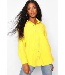 norah yellow cord raw hem shirt, yellow