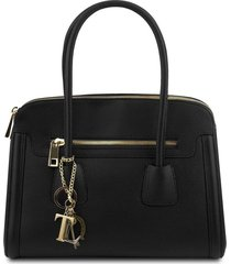 tuscany leather tl141285 tl keyluck - borsa a mano media in pelle morbida nero