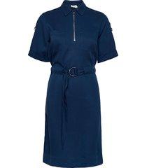tencel 3/4 slv zip up mini dress jurk knielengte blauw calvin klein
