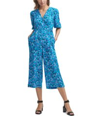calvin klein ditsy-floral-print cropped jumpsuit