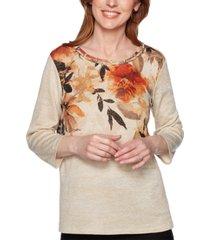 alfred dunner street smart floral print knit top
