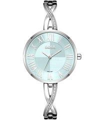 reloj para dama marca loix ref  l1169-02 plateado/azul