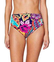 high-waist floral bikini bottoms