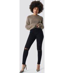 na-kd trend high waist knee rip super skinny jeans - black