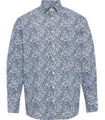 floral print poplin shirt skjorta casual blå eton