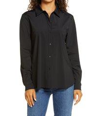 women's lysse connie slim fit button-up shirt, size medium - black