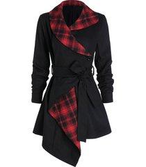 plaid belted asymmetric wool coat