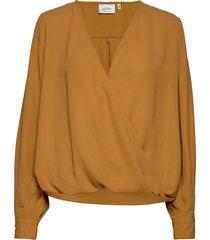 ceniagz wrap blouse so20 blouse lange mouwen geel gestuz