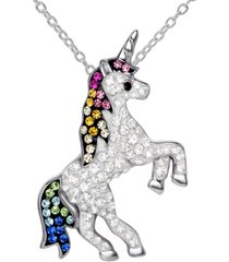 """giani bernini crystal unicorn 18"""" pendant necklace in sterling silver, created for macy's"""