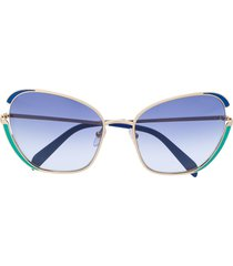 emilio pucci butterfly full rim sunglasses - blue