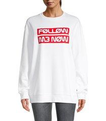 redvalentino women's slogan sweatshirt - white - size xs