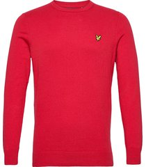 cotton merino crew jumper gebreide trui met ronde kraag rood lyle & scott