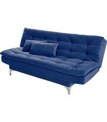 sofá cama 3 lugares pratic império estofados azul marinho