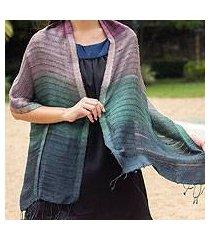 silk scarf, 'teal evolution' (thailand)