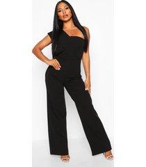 one shoulder drape jumpsuit, black