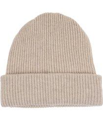 woman light beige round beanie hat