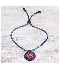 cotton pendant necklace, 'red hmong sun medallion' (thailand)