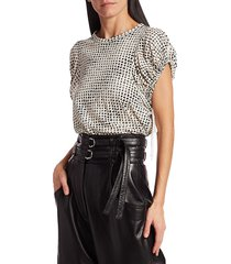 proenza schouler women's short-sleeve novelty tee - ecru poppy - size s
