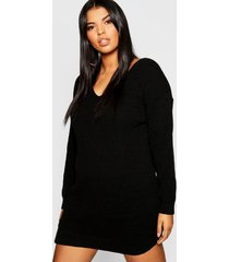 plus bella v neck sweater mini dress, black