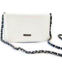 bolsa e pochete couro croco transversal d'alice - branco - feminino - dafiti