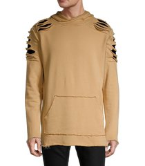 standard issue nyc men's destroyed patch hoodie - khaki - size xl