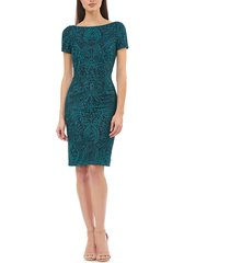 women's js collections floral embroidered cocktail dress, size 8 - blue