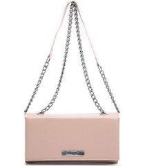 bolsa clutch feminina transversal alça corrente dia a dia rosa