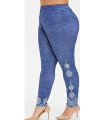 high waisted 3d printed plus size leggings