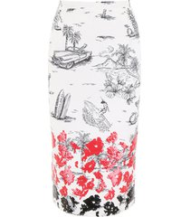 n.21 printed pencil skirt with sequins