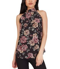 bcx juniors' floral-print smocked-neck top