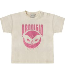 gucci ivory t-shirt for baby girl with lurex pink writing