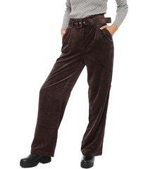 pantalón only sofía marrón - calce holgado