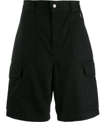 ami paris men patch pockets bermuda shorts - black