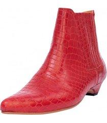 botín cuero loreto rojo kuss