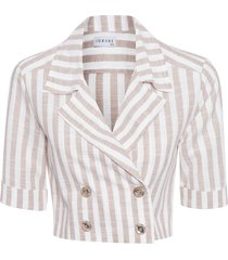 blusa feminina listrado - bege