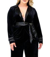 plus size women's standards & practices lottie velvet & satin jacket, size 3x - black