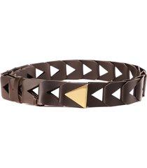 bottega veneta dark brown cut out leather belt