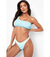 ombre bikini top met eén blote schouder, blue