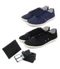 conjunto 2 sapatênis masculinos + carteira + meia algodão - azul/preto ro02