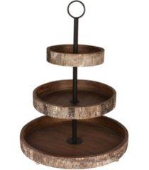 "designovation white birch wood rustic 3 tiered tray - 16"" x 16"""