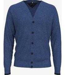 tommy hilfiger men's essential contrast cardigan blue heather - xxxl