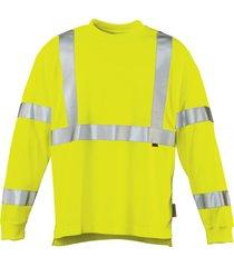 wolverine caution long sleeve tee hi vis green, size m