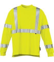 wolverine men's caution long sleeve tee hi vis green, size m