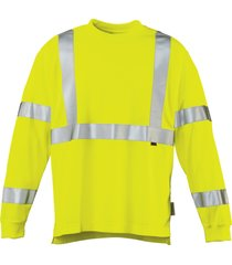 wolverine men's caution long sleeve tee hi vis green, size m